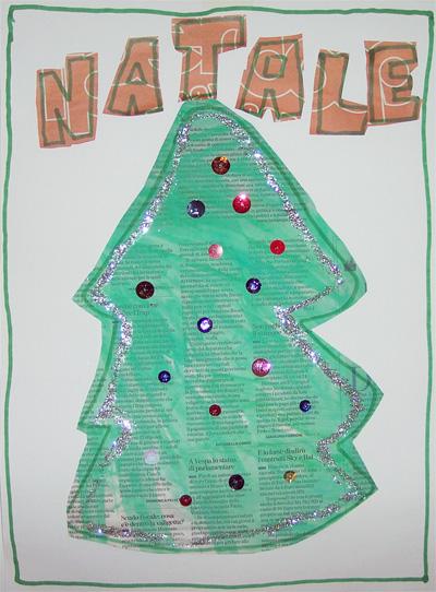 Lavoretti di Natale: albero con carta di giornale