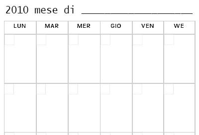 Planning mensile da stampare