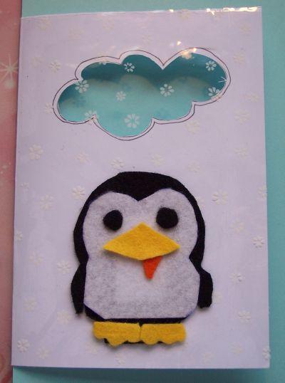 Pinguini in cartolina mamma felice