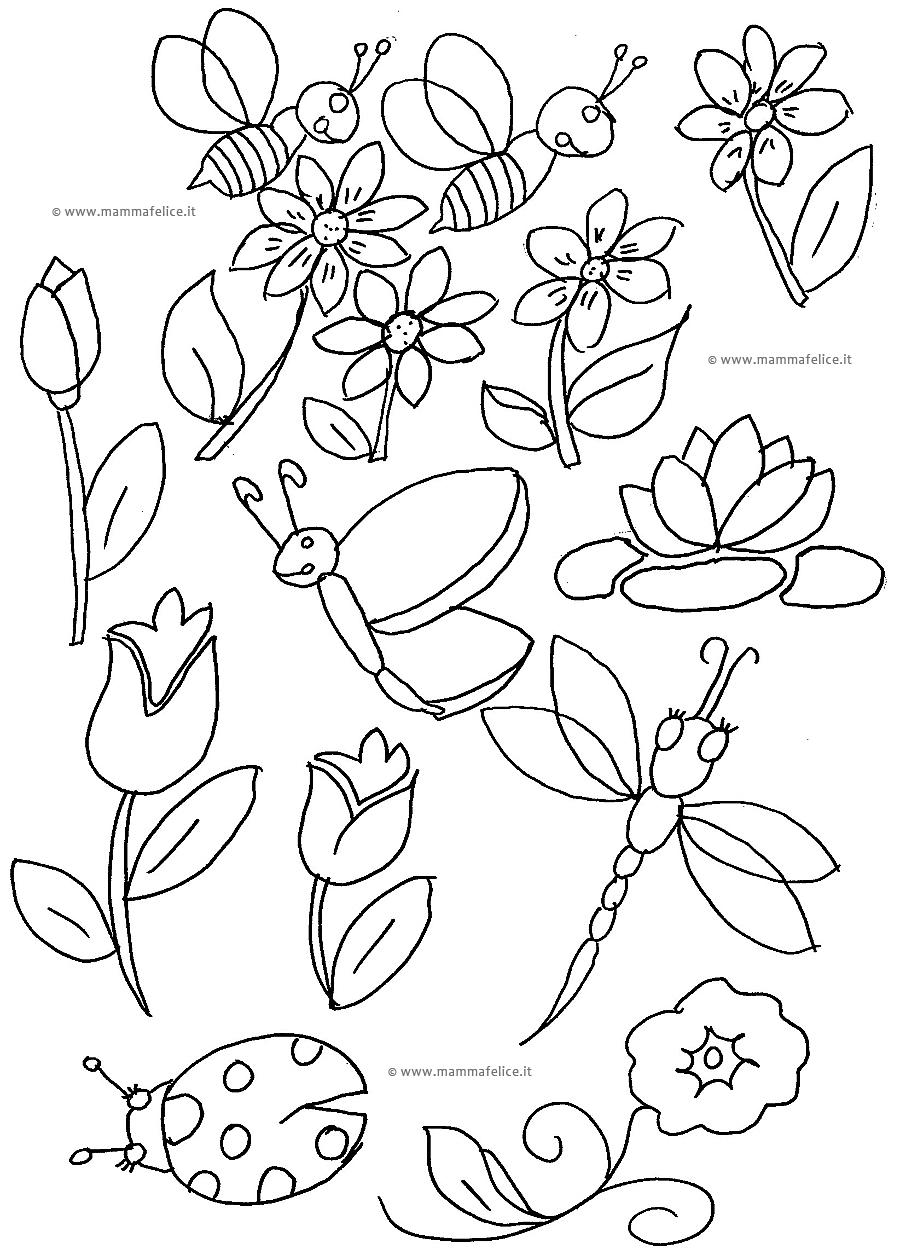 Disegni da colorare la primavera mamma felice - Immagini da colorare della natura ...