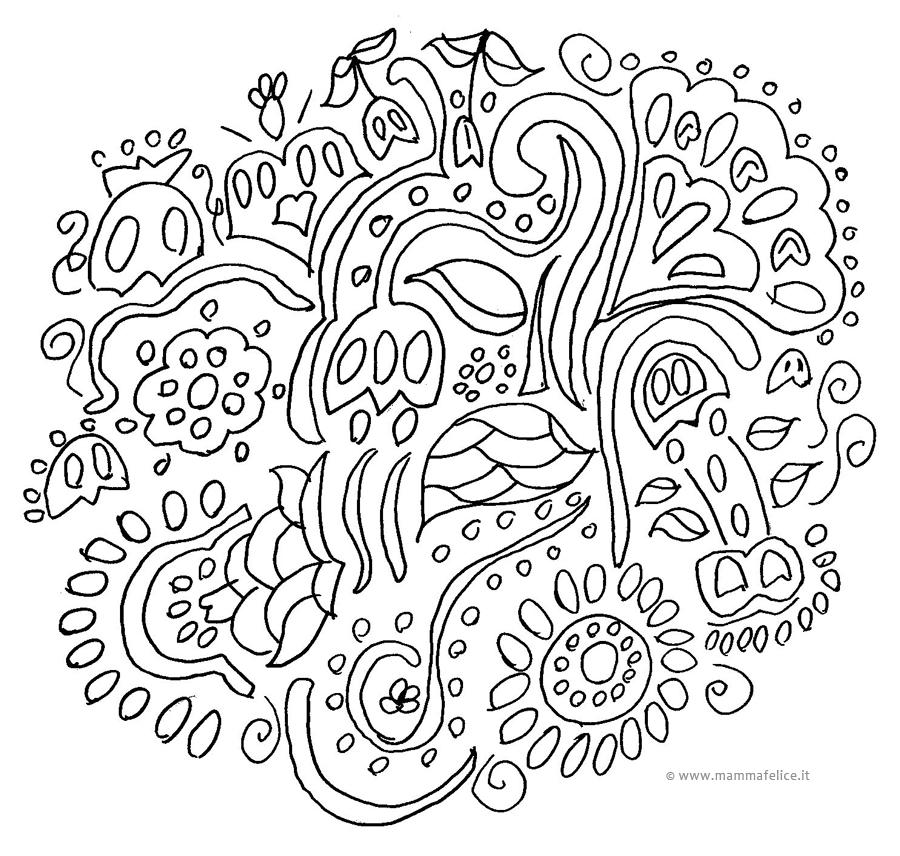 Fiori mandala da colorare mamma felice for Disegni di mandala semplici