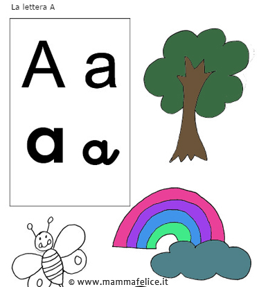 Da colorare la lettera a mamma felice for Unito lettere