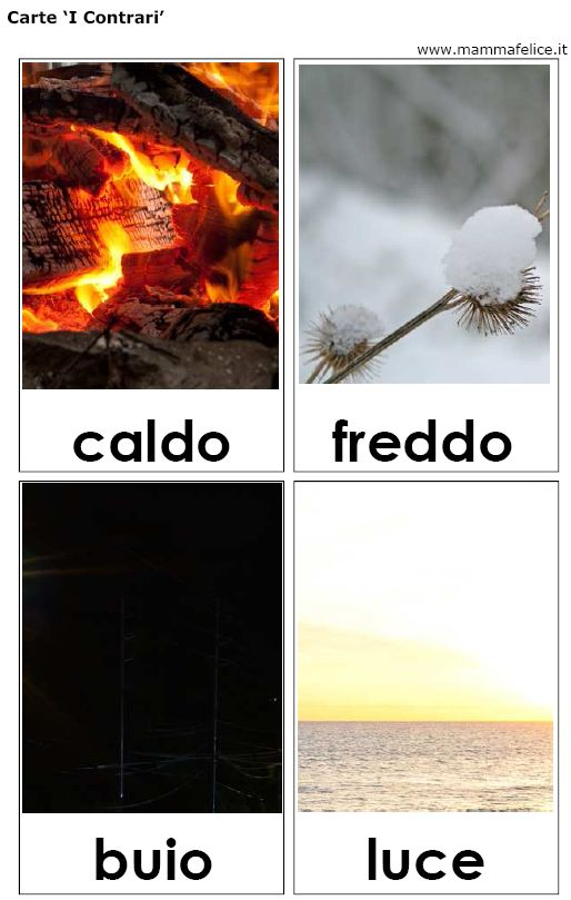 carte tematiche parole contrarie