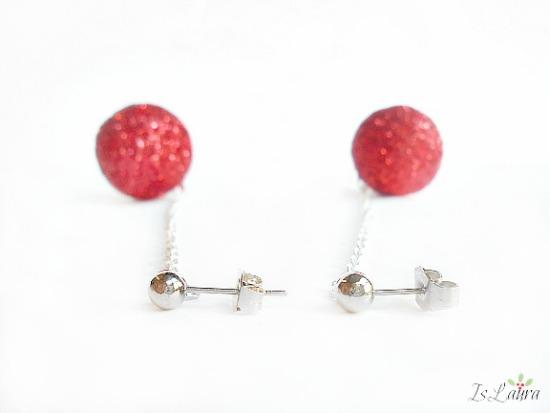 orecchino con palline glitterate