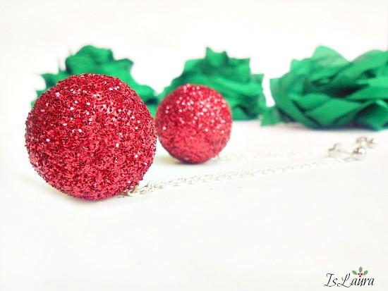 orecchino palline rosse glitterate