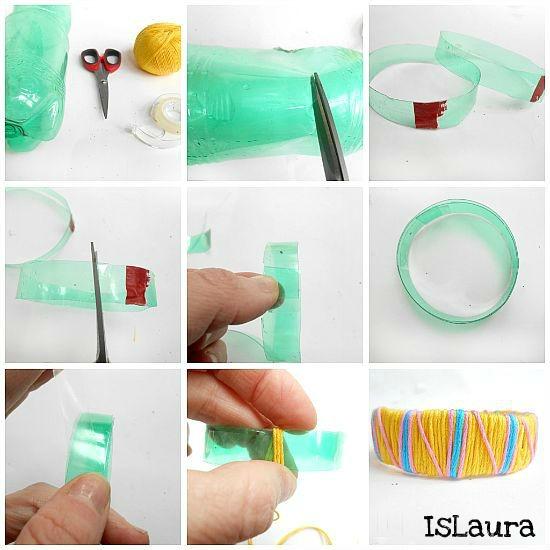 Collage bracciali di bottiglie