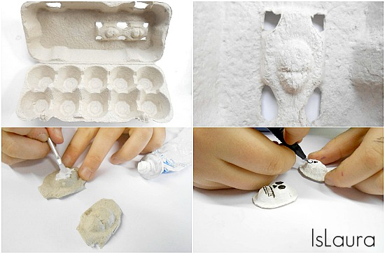collage, come fare orecchini con il cartone delle uova