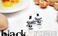 orecchini bianco e nero