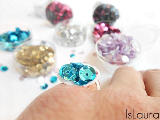 anello con paillettes