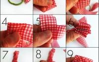 collage passaggi per fare un fiore con un nastro