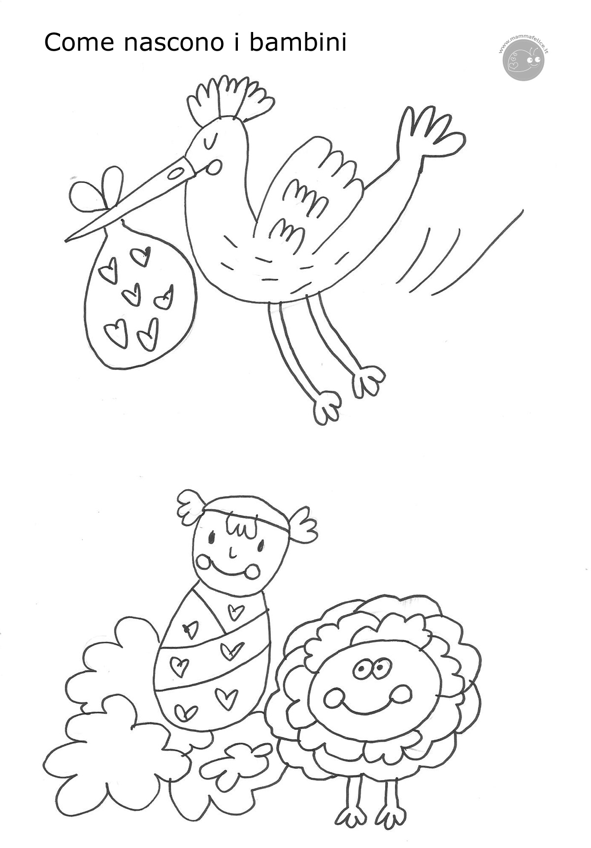 Disegno Da Colorare Cicogna Nascita Mamma Felice