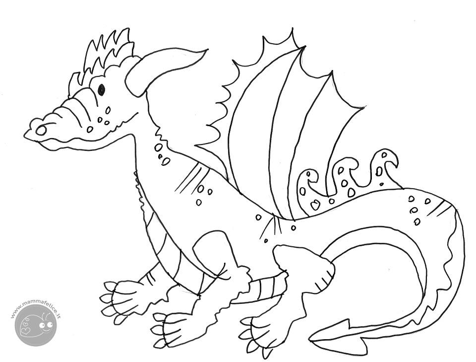 Disegno da colorare gratis bambini animali drago mamma - Bambini animali da colorare pagine da colorare ...