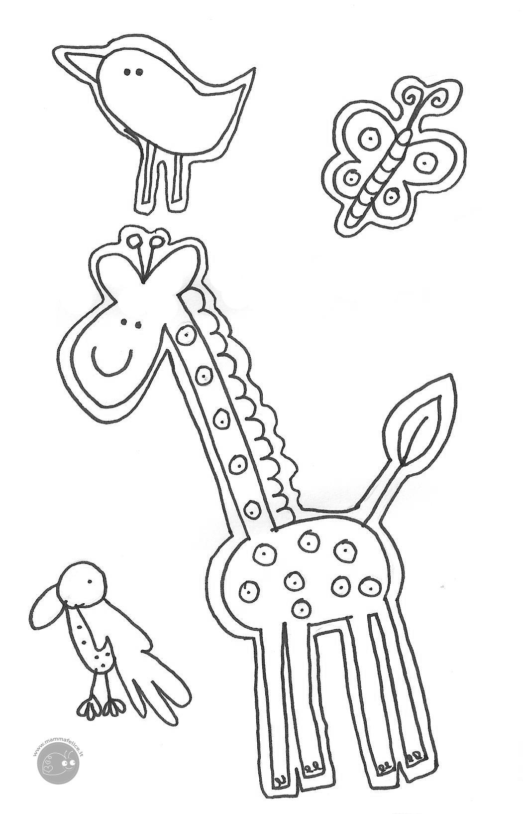 Disegno Da Colorare Gratis Bambini Animali Giraffa Mamma Felice