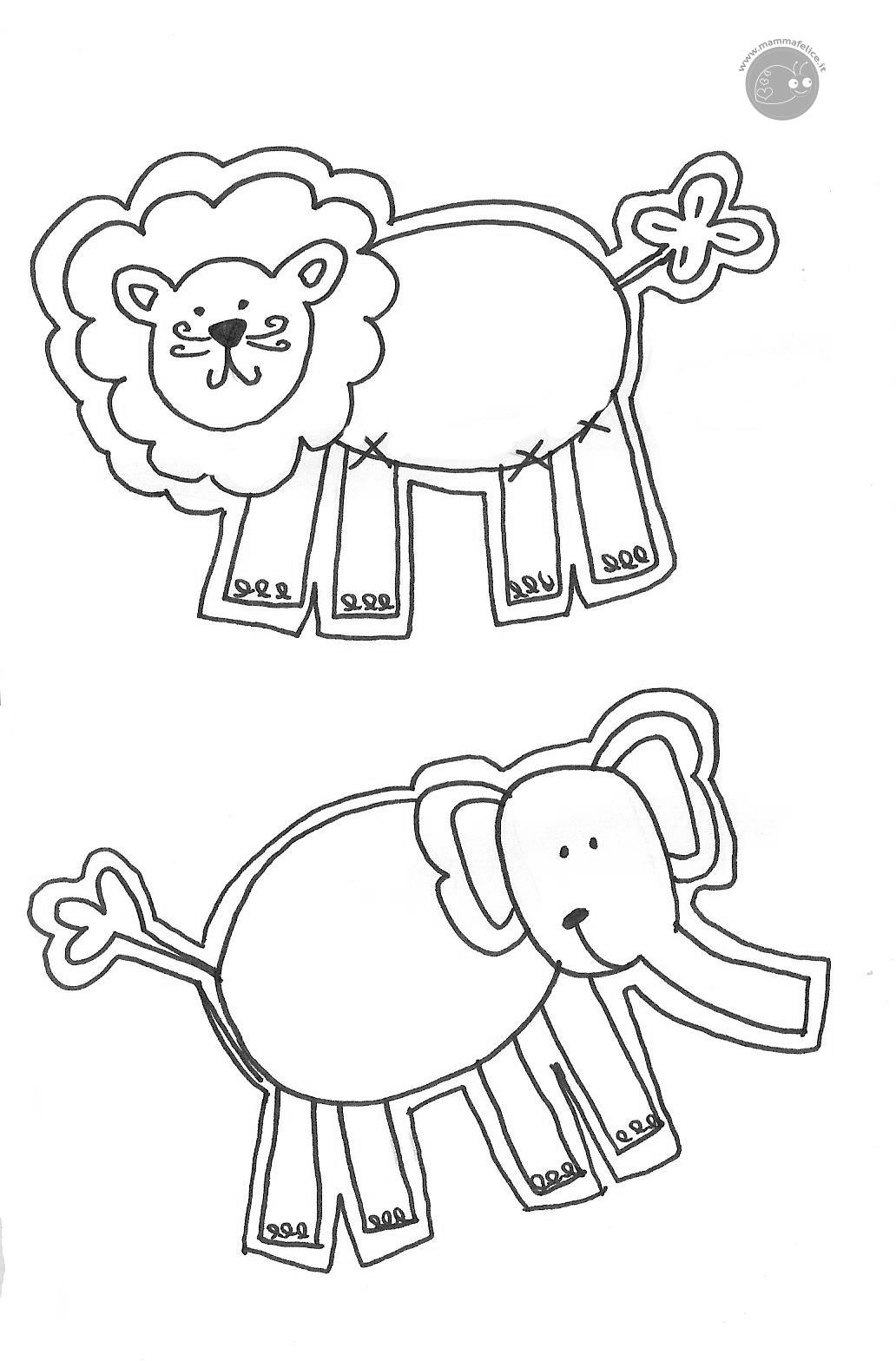 Disegno Da Colorare Gratis Bambini Animali Savana Mamma Felice