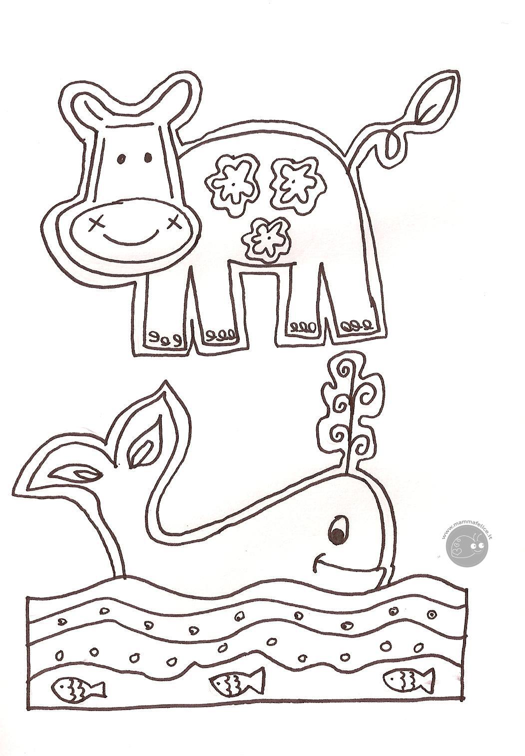 Disegno da colorare gratis bambini animali mamma felice for Disegni marini da colorare