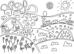 Disegno da colorare gratis bambini paesaggio mamma felice - Riscaldare casa gratis ...