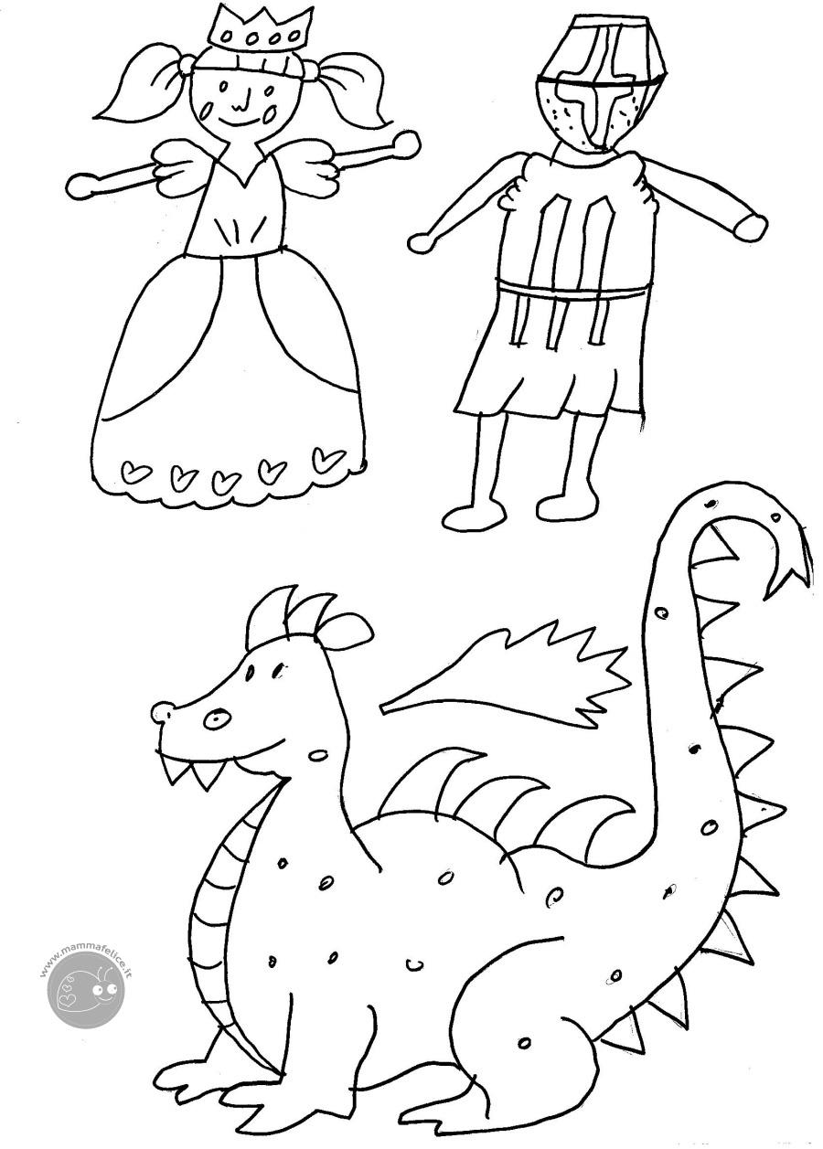 Disegno Da Colorare Gratis Bambini Principessa Cavaliere Mamma