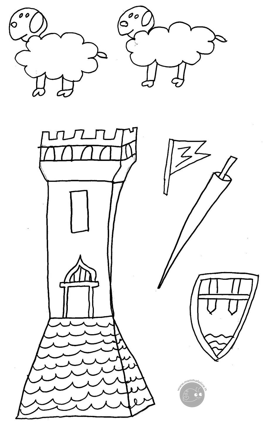 Disegno Da Colorare Gratis Bambini Torre Castello Mamma Felice