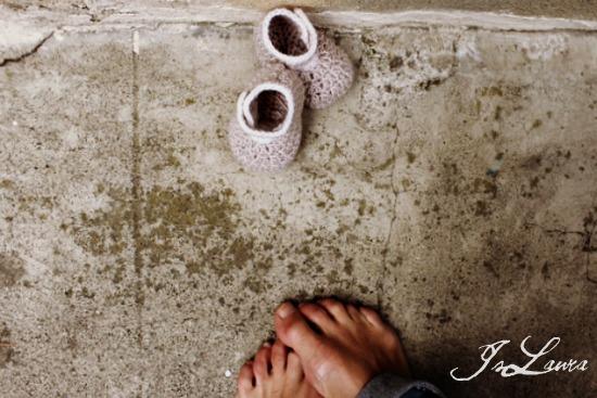 scarpine di lana a crochet