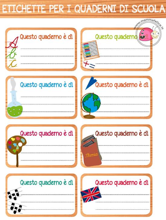 Eccezionale Etichette per la scuola da stampare | Mamma Felice NV86