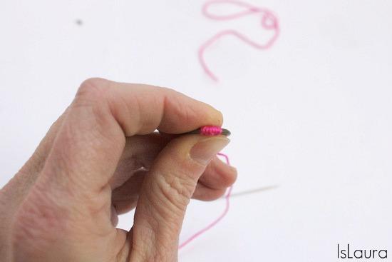 rondella  avvolta con filo di cotone