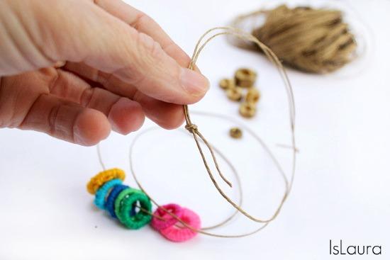 rondelle rivestite di filo in cotone