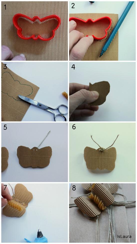 collage farfalle con pasta e cartoncino