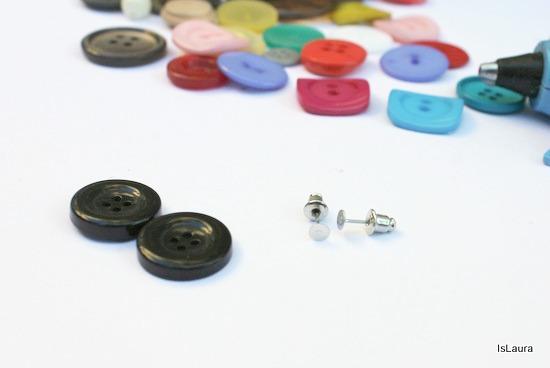 montatura per orecchini con bottoni