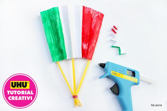 bandiera italiana con carta cannucce ed elastico