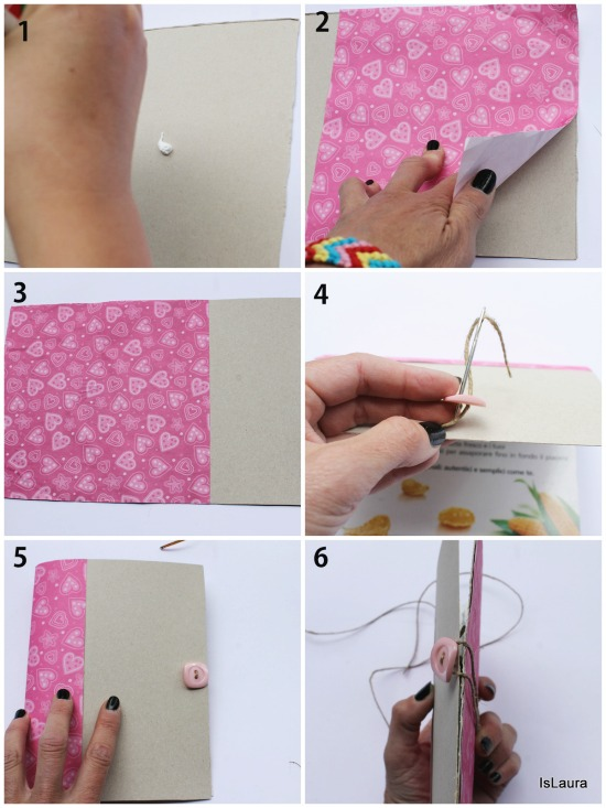 collage notebook con cartoncino
