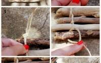 collage sottopiatto con legnetti di mare