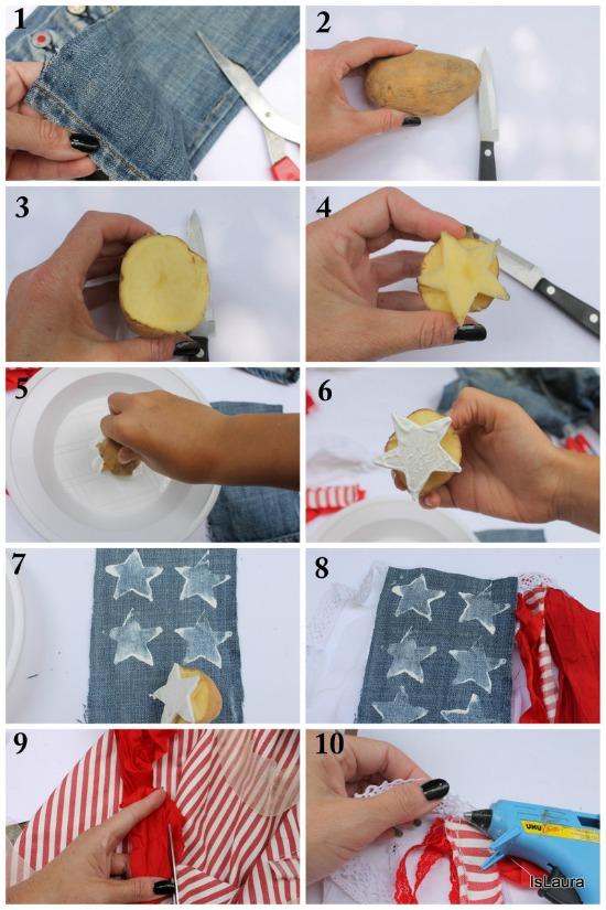 collage con materiali di riciclo tutorial bandiera