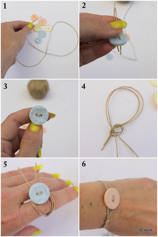 Collage come realizzare un bracciale con bottoni