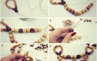 collage collana con perline di legno