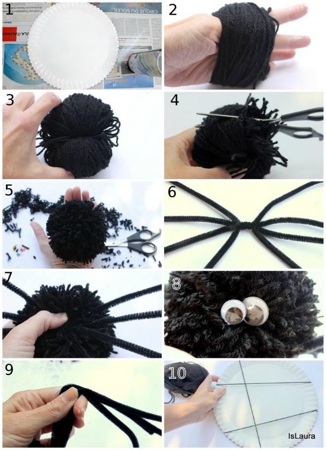 Collage di come realizzare ragnatela e ragno di pompon halloween
