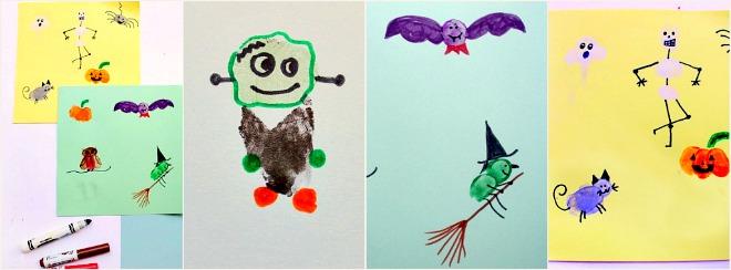 Collage fare i personaggi con le dita per Halloween