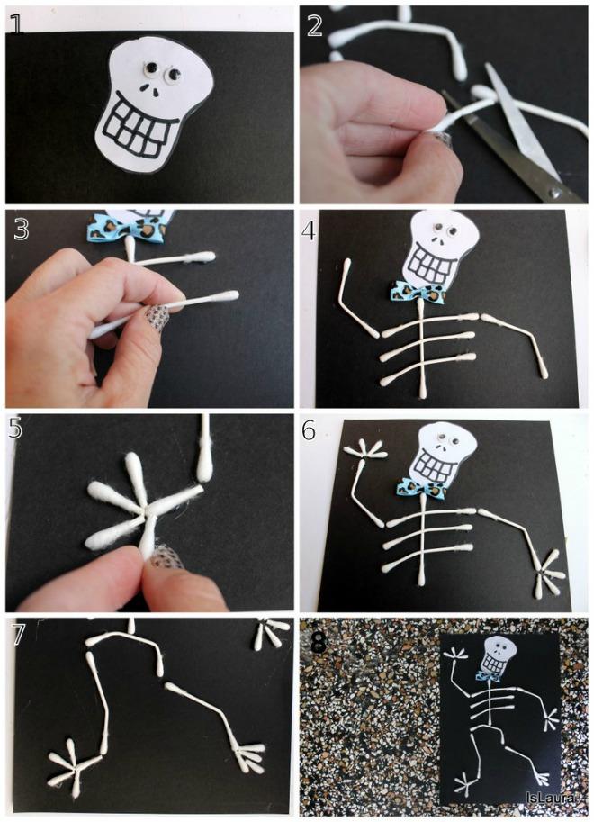 Come fare uno scheletro per Halloween con cartoncino cotton fioc e colla gioco attività per bimbi