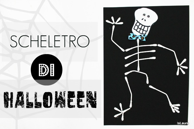 Come fare uno scheletro per Halloween con cartoncino cotton fioc