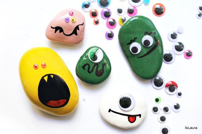 Come realizzare dei sassi spaventosi con facce paurose per Halloween, pietre,