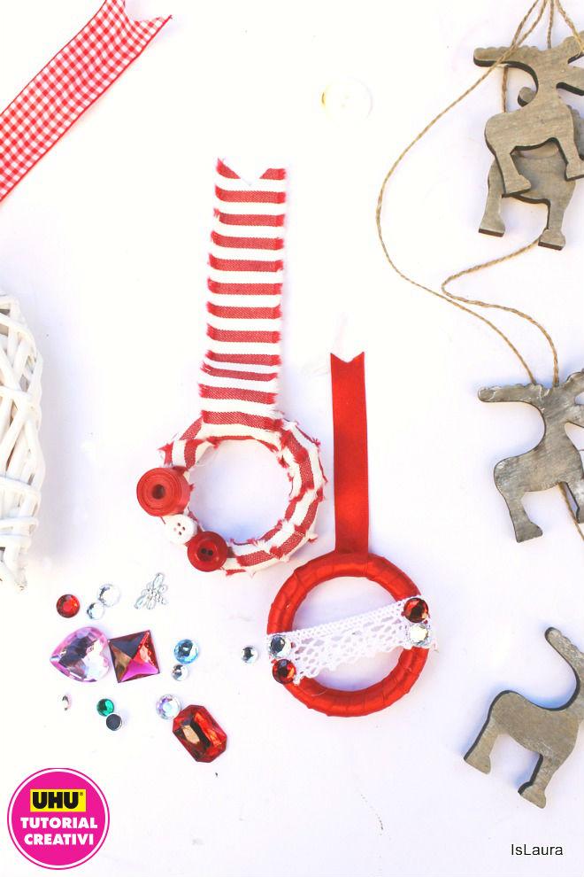 Come realizzare piccole semplici ghirlande di Natale con anelli di legno e materiali di riciclo