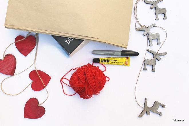 Occorrente pacchi regalo con carta da paccchi e lana