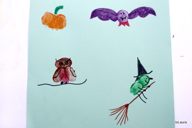 Personaggi di halloween con le dita e tempere