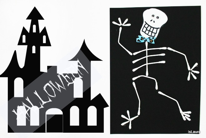 Tutorial Come fare uno scheletro per Halloween con cartoncino cotton fioc gioco attività bimbi