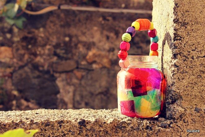 Tutorial  come fare lanterne di San Martino con vasi di vetro  perline in legno carta velina e colla