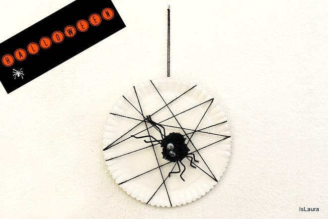 Tutorial giococ attività come realizzare ragnatela e ragno di pompon lana halloween