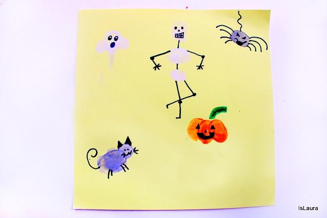 Tutorial personaggi di halloween con le dita e tempere