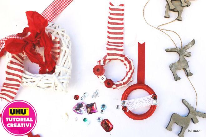 Tutorial realizzare piccole semplici ghirlande di Natale con anelli di legno e materiali di riciclo