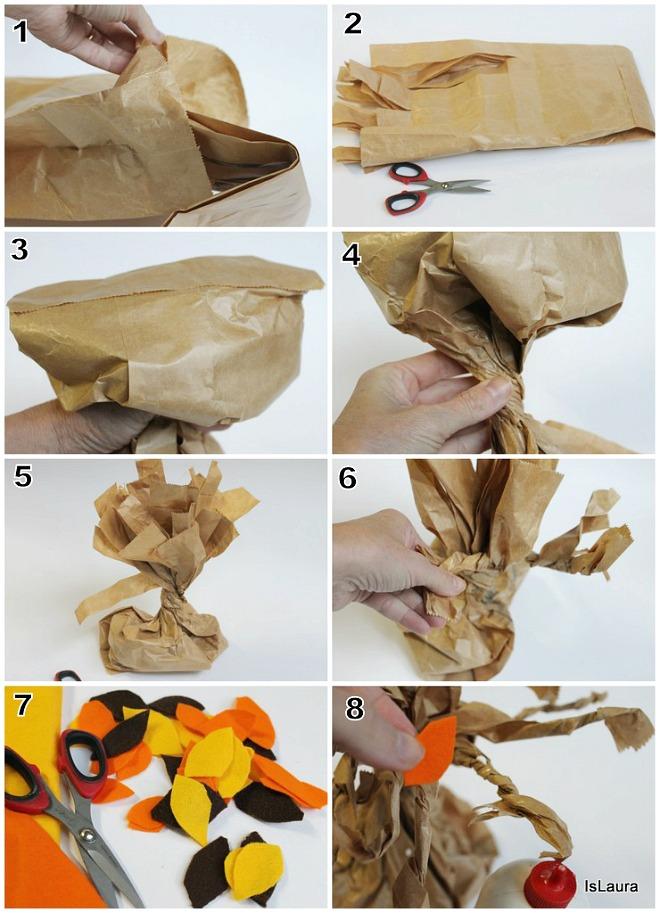 centrotavola autunnale per Thanksgiving con sacchetti del pane riciclati