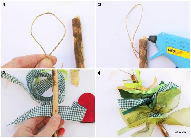 Collage Come fare un alberello di Natale con legnetto di mare e nastri verdi di riciclo