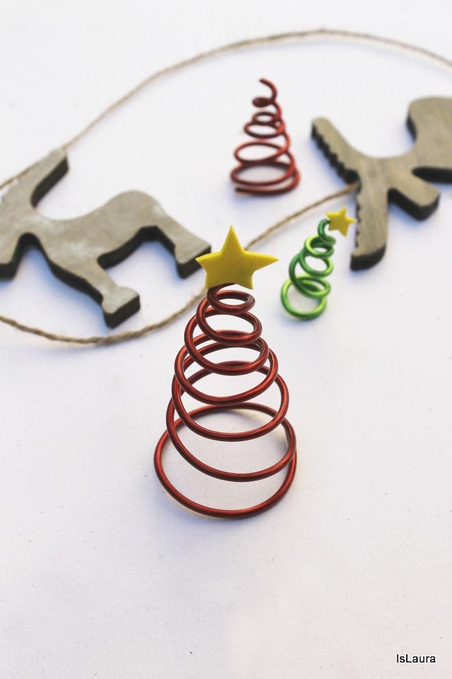 Come fare alberelli di Natale con filo metallico e gomma crepla